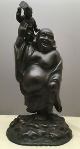 Large Japanese Taisho Bronze Okimono Hotei With Boy