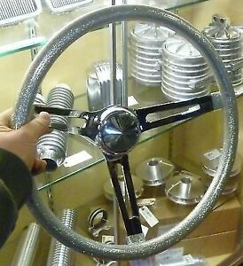 Vtg Style Silver Metalflake Steering Wheel Rat Hot Rod Custom Gasser Lowrider