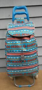 Rolling Lightweight Blue Multi Color Shopping Bag Cart Trolley Grocery Laundry
