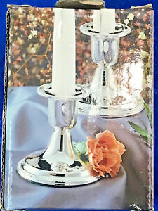 Isc The Mayfair Collection 1 Pair Silver Plated Candlesticks 2 3 4 Tall