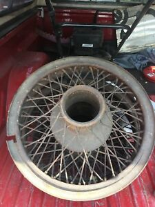 Original 1920s Matched 19 Dentil Drive Buffalo Wire Wheels W Rings Accessory