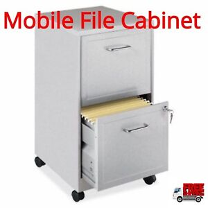 Lorell 16870 2 drawer Mobile File Cabinet Steel Lock Secure Storage Documents