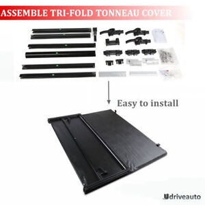 5 5ft 66in Bed Assemble Lock Tri Fold Tonneau Cover For 2004 2018 Ford F 150