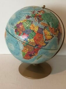 Replogle World Nation Globe 12 Metal Stand Classic Raised Relief Topography