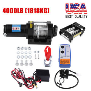 12v 4000lbs Electric Winch Towing Truck Trailer Steel Cable Off Road 4wd