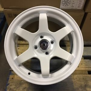 15 Grid Te37 Style Wheels Rims White 4 Lug 4x100 Brand New Set Of 4