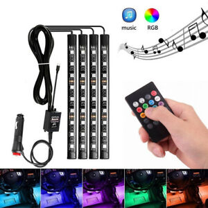 Music Rgb Led Car Interior Ambience Light Cigarette Lighter Remote Control Us C2
