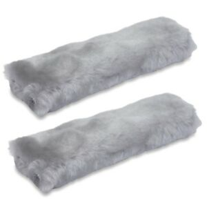 Authentic Sheepskin Car Seat Belt Cover 2 Pack Gray Soft Shoulder Pad