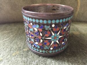 Antique Russian Sterling Silver Enamel Cloisonn Napkin Ring