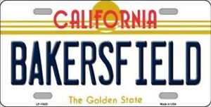 Bakersfield California State Background Metal Novelty License Plate