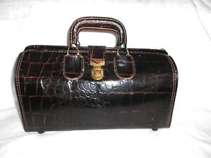 Vintage Upjohn Cowhide Leather Faux Alligator Doctors Bag Case