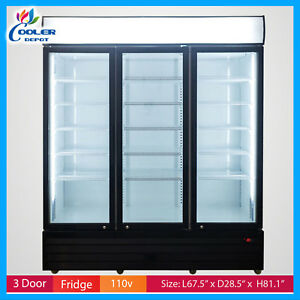 Commercial 3 Glass Door Merchandiser Upright Refrigerator Display Cooler Drink