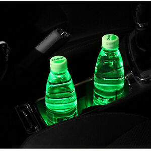 2pcs Cup Holder Bottom Pad Car Led Lamp Green Light Cover Trim Atmosphere V5h9e