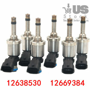 6x Fuel Injectors For Gm Chevrolet Camaro Traverse Gmc Acadia Cts 3 6l 12638530