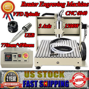 3 Axis Cnc 6040 Router Engraver Machine 1 5kw Usb Carving Engraving 3d Cutter Us