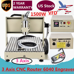 3 Axis Cnc Router 6040 1500w Vfd Engraver Drilling Machine Controller Software