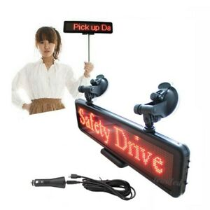 17 Red Car Sign Led Display Board Usb Rechargeable Programmable Message Sign