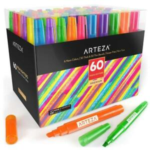 Arteza Highlighters Colored Markers Set Of 60 Bulk Pack Wide Narrow Tips 6 Neon
