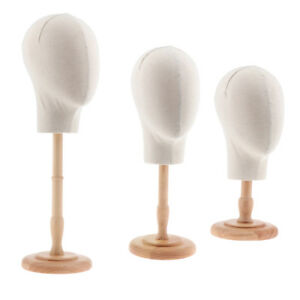 3pcs 20 Canvas Mannequin Head Wigs Making Glasses Hats Display Wood Stand