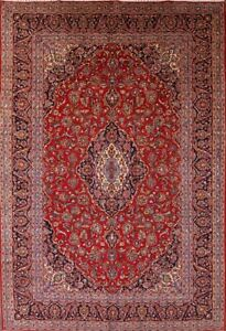 Outstanding Floral 10x14 Kashan Persian Area Rug Oriental Carpet 14 0 X 9 8