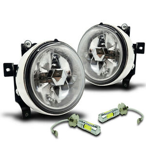 For 03 06 Honda Element Fog Lights W wiring Kit High Power Cob Led Bulbs Clear