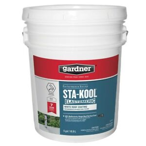 Elastomeric Roof Coating 5 Gal Uv Protection Liquid Rubber Cooling Paint white