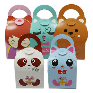 Colorful Cartoon Card Paper Handle Box For Wedding Favor Candy Chocolate Gift