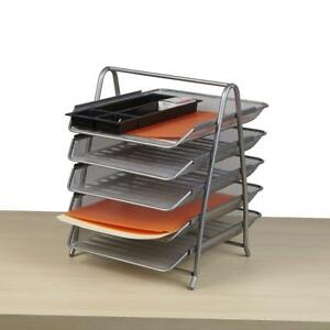 Paper Tray Desk Organizer Metal Paperwork 5 Tier Trays File Holder Work Caddy