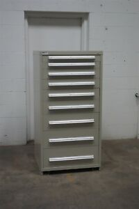 Used Stanley Vidmar 9 Drawer Cabinet Industrial Tool Storage Bin 678