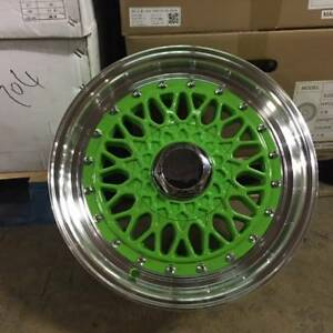 15 Rs Style Wheels Rims Green 4 Lug 4x100 114 3 4x4 5 Brand New Set Of 4