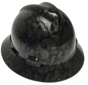 Hard Hat Msa Full Brim Stainless Insanity Skulls W Free Brb Customs T shirt