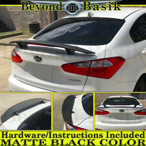 2 Pedestal 52 Universal Fit Matte Black Trunk Spoiler Wing Fin Tail With Light