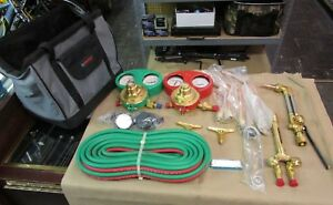Never Used Gentec Heavy Duty Oxygen acetylene Welding Torch Regulator Set W case