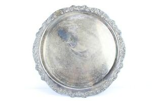 Huge 18 75 Silver Plated Engraved Floral Vintage Tray 1883 Fb Rogers Silver Co