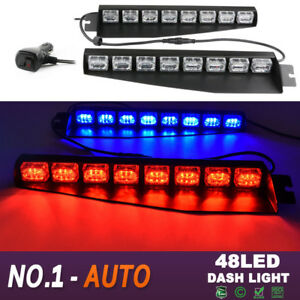 34 48led Emergency Warning Sun Visor Dash Flash Strobe Light Bar Red Blue Auto