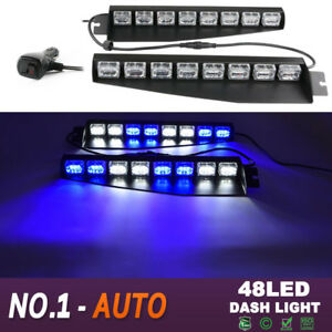 34 48led Car Emergency Hazard Sun Visor Dash Strobe Light Bar Blue White Auto