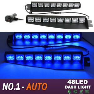 34 48 Led Emergency Hazard Warning Visor Dash Strobe Light Bar Blue 48w Auto