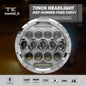 7 75w Led Motorcycle Car Projector Chrome Headlight For Harley Bad Boy Jeep