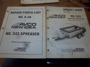 Avco new Idea 243 Manure Spreader Repair Parts operator Manual original 1980 lot