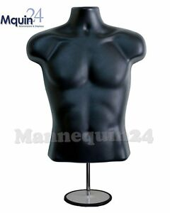 Torso Male W metal Base Body Mannequin Form 19 To 38 Height Waist Long For S m
