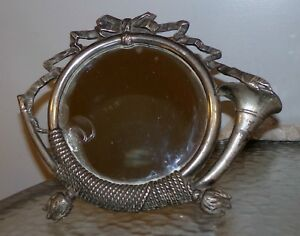Antique French Empire Table Mirror Nickle Plated Horn Bow Rope With Tassles 1910