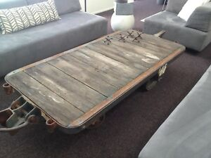 Vintage Industrial Antique Jakes Of Nashville Railroad Cart Coffee Table