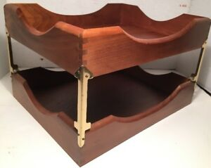 Vintage Office Carver Wood Desk Tray File Organizer 2 Tier Dove Tailed