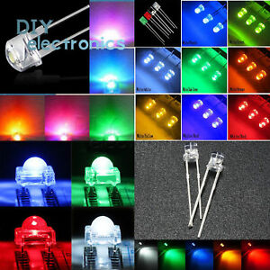 3 10mm Led Diodes Light Round straw Hat flat rectangle piranha Clear diffused Us