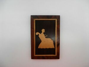 Antique Wood Marquetry Inlay Picture Of Lady Knitting Wall Hanging