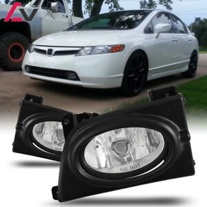 For Civic Sedan 06 08 Clear Lens Pair Bumper Fog Light Lamp Wiring Switch Kit