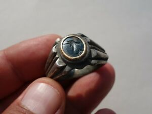 Ancient Roman Solid Silver Intaglio Gold Round Ring With Dolphin And Trident