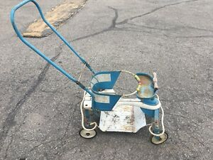 Vintage 1950s Taylor Tot Blue White Metal Wood Baby Stroller Walker Fenders