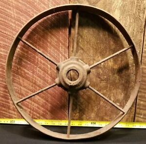Vintage John Deere Farm Implement Steel Spoke Wagon Wheel Farm Decor 16 1 2
