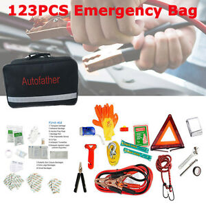Roadside Car Emergency Tools Kit auto Safety Bag With Jump Starter First Aid Kit